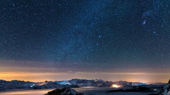 Snow stars wall night sky wallpaper