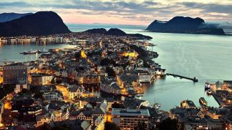 Water cityscapes norway cities ålesund Wallpaper