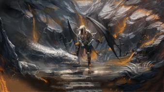 Wings dragons fantasy art artwork drow dark elf Wallpaper