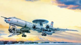 Aircraft military soviet take off artwork awacs turboprop wallpaper