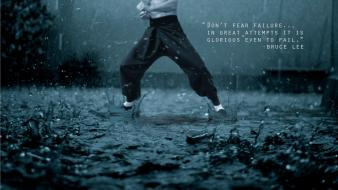 Bruce lee rain quotes martial arts photoshop motivation wallpaper