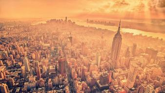 City manhattan empire state building aerial view wallpaper