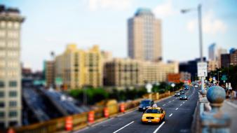 Cityscapes buildings traffic new york city roads tilt-shift wallpaper