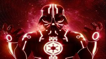 Darth vader tron digital art wallpaper