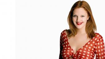 Drew barrymore actress green eyes redheads smiling wallpaper