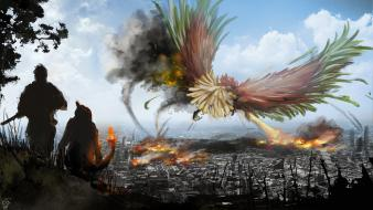 Fantasy art destroyed digital artwork charmander cities Wallpaper