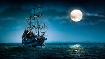 Fantasy art night sky moon light sea wallpaper