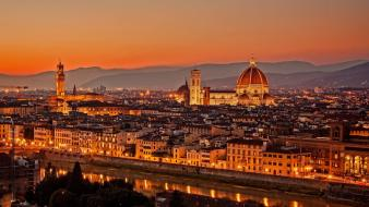 Firenze italy city lights cityscapes evening Wallpaper