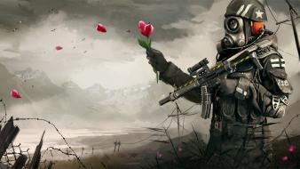 Flowers gas masks soldiers Wallpaper