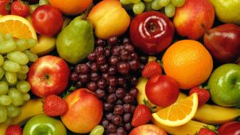 Fruits oranges grapes macro strawberries apples wallpaper