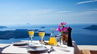 Greece santorini breakfast drinks glasses wallpaper