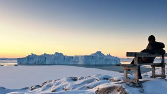 Greenland national geographic bench icebergs nature wallpaper