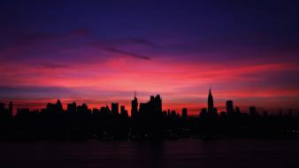 Hudson architecture cityscapes horizon red sky wallpaper