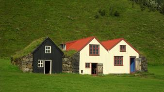 Iceland architecture buildings grass houses wallpaper