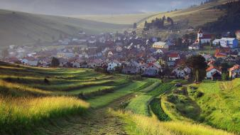 Landscapes cityscapes fields europe town slovakia wallpaper