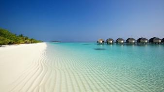 Landscapes nature maldives resort beach wallpaper