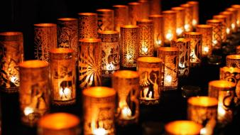 Lights golden depth of field candles ornaments decorations wallpaper