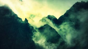 Mountains clouds landscapes nature fog mist wallpaper