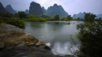 Mountains landscapes forest china lakes wallpaper