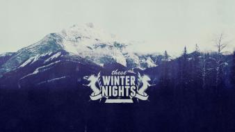 Mountains nature winter snow grunge typography wallpaper