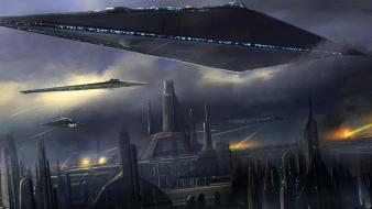 Movies futuristic spaceships science fiction artwork coruscant wallpaper