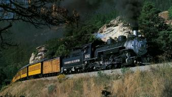 Nature trains steam train low-angle shot wallpaper
