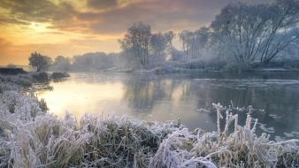 Nature winter snow trees frost rivers reflections wallpaper