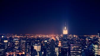 Night empire state building cities wallpaper