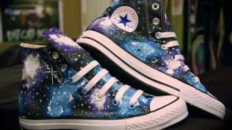 Outer space shoes converse sneakers all star blue wallpaper