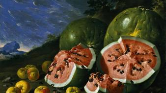 Paintings fruits watermelons Wallpaper