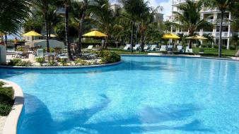 Paradise palm trees swimming pools hotel wallpaper