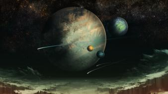 Planets science fiction artwork wallpaper