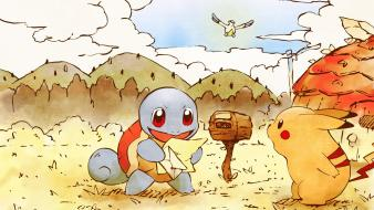 Pokemon pikachu squirtle pelipper Wallpaper