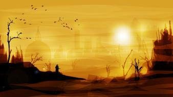 Silhouettes moscow science fiction artwork metro 2033 wallpaper