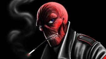 Skulls nazi artwork cigarettes red skull Wallpaper