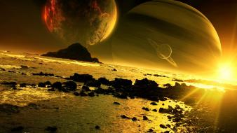Space planets golden digital art science fiction wallpaper