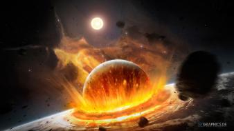 Stars explosions planets earth artwork impact collision wallpaper