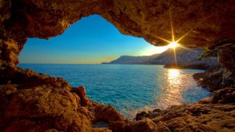 Sunrise landscapes nature caves sea wallpaper