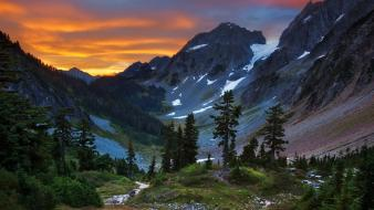 Sunset mountains landscapes nature peak north washington wallpaper