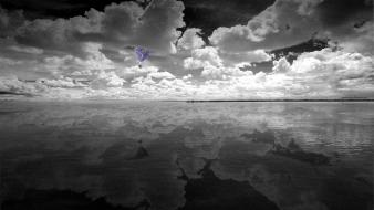 Surreal grain grainy skies bw color sea wallpaper