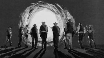 The wild bunch artwork cowboys grayscale Wallpaper