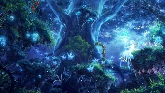 Trees animals fish fairies short hair white wallpaper