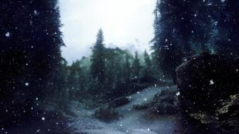 V: skyrim nature snow video games winter wallpaper