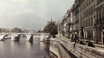 Vintage france bridges urban europe recolor 1900 wallpaper