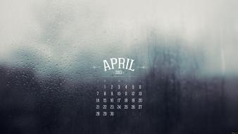 Water rain glass calendar april drops Wallpaper