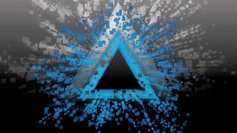 Abstract blue black white burst pixelated triangles wallpaper