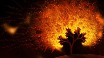 Abstract flames trees fractals sparks artwork wallpaper