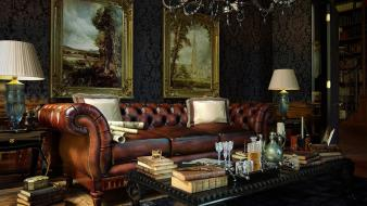 Antique bookshelf couch interior decoration design wallpaper
