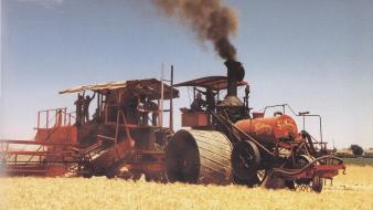 Antique farming vehicles wallpaper