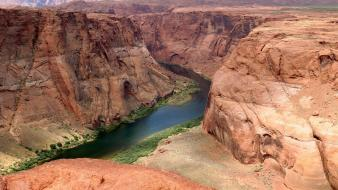 Arizona colorado river canyon cliffs green Wallpaper